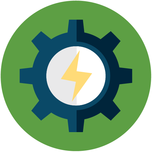 flat icon of a gear with lightning bolt