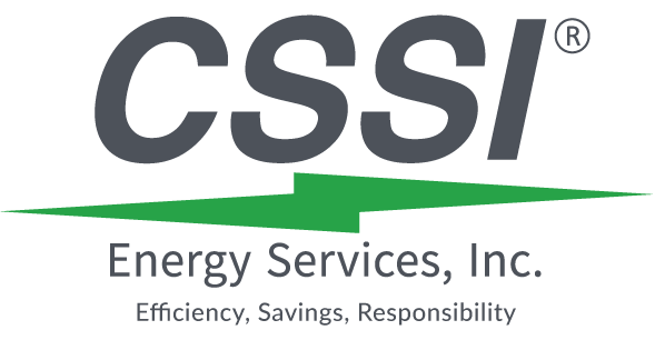 CSSI Energy Services Logo With Tagline that reads Efficiency, Savings, Responsibility