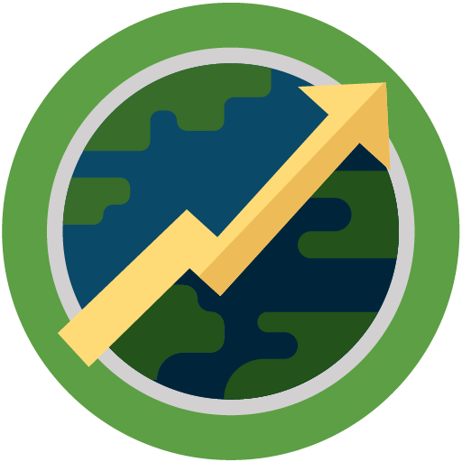 Flat icon of world with arrow in front of world pointing up and to the right