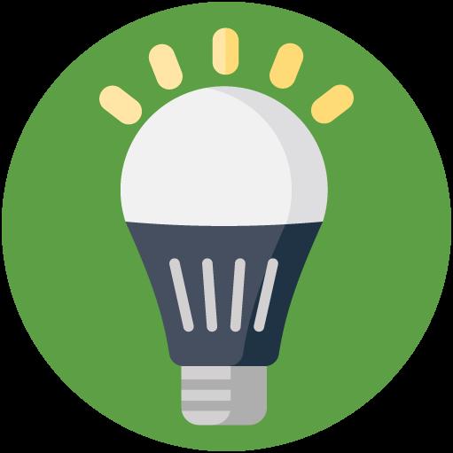Flat icon of LED bulb