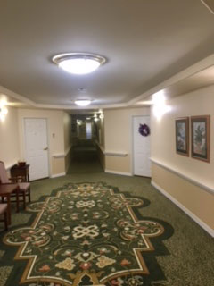 Hotel hallway after lighting changed to LED
