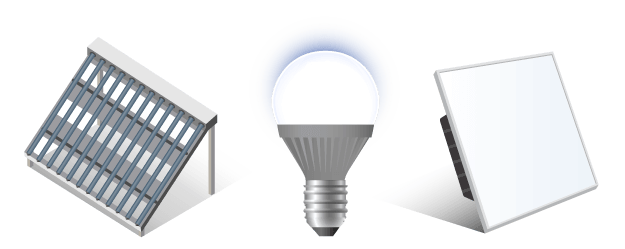 Group of isometric icons including a photo voltaic system, LED bulb, and 2x2 LED Panel