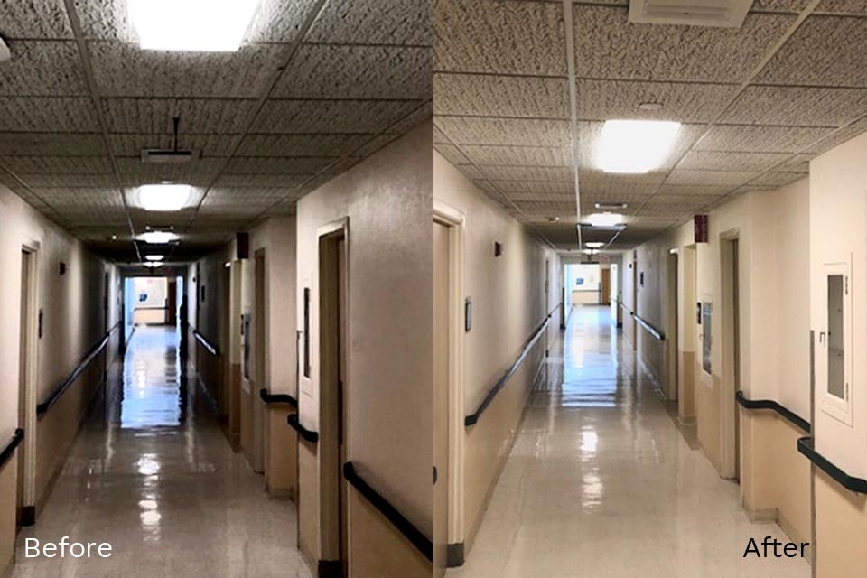 Split screen before & after image with dark hallway on the left and same brighter hallway on the right